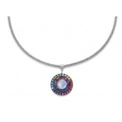 COEUR DE LION Swarovski Hand Worked Glass Pendant Iridescent Multicolour Necklace 4941/10-1522