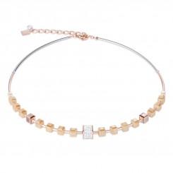 COEUR DE LION Geo Cube Rose Champagne Necklace 4953/10-1000