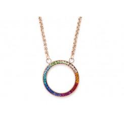 COEUR DE LION Swarovski Multi Coloured Circle Pendant Necklace 4957/10-1500