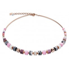 COEUR DE LION Geo Cube Malachite Soft Pink Aubergine Necklace 4963/10-1908