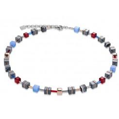COEUR DE LION Geo Cube Hematite Cornflower Blue & Red Wine Necklace 4964/10-0307