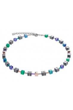 COEUR DE LION Geo Cube Emerald Green Purple Hematite Necklace 4964/10-0508