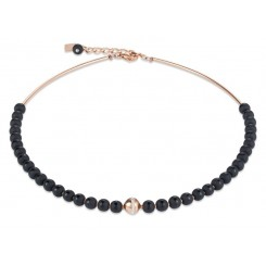 COEUR DE LION  Matte & Polished Onyx Rose Gold Necklace 4971/10-1620