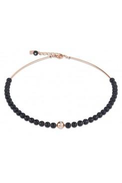 COEUR DE LION  Matte & Polished Onyx Rose Gold Necklace 4971/10-1620