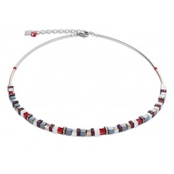 COEUR DE LION  Geo Cube Fine Grey, White & Warm Red Necklace 4977/10-0300