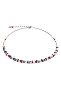COEUR DE LION  Geo Cube Fine Grey, White & Warm Red Necklace 4977/10-0300