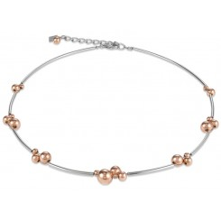 COEUR DE LION Rose Gold Spheres & Stainless Steel Necklace 4983/10-1631