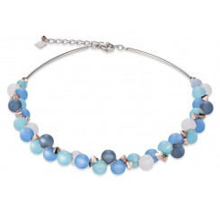 COEUR DE LION Muted Blue Tone Matt Spheres Necklace 4994/10-0607