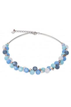 COEUR DE LION Muted Blue Tone Matt Spheres Necklace 4994/10-0607