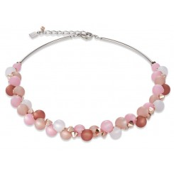 COEUR DE LION Soft Pink Matt Spheres Necklace 4994/10-1910