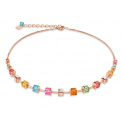 COEUR DE LION Geo Cube Luxurious Multicolour Necklace 4996/10-1500