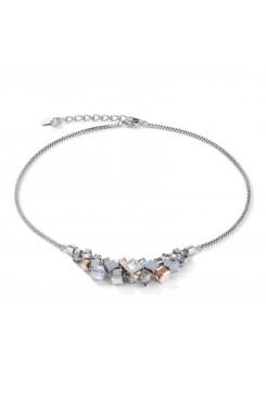 COEUR DE LION Geo Cube Cluster Silver & Rose Gold Necklace 5037/10-1723