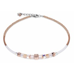 COEUR DE LION Geo Cube Rose Gold and White Necklace 4734/10-1400