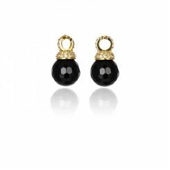KAGI Gold Black Drops Earrings
