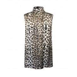 Mela Purdie Cossack Tank - Snow Leopard Chiffon Satin Print - Sale