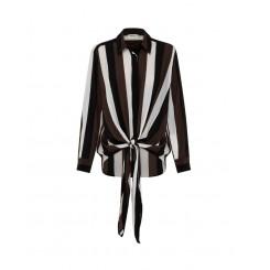 Mela Purdie Tie Overshirt - Cigar Stripe Print Mousseline