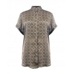 Mela Purdie Stand Collar Top - Lattice Chiffon Satin Print