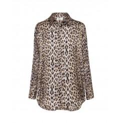 Mela Purdie Soft Shirt - Snow Leopard Chiffon Satin Print