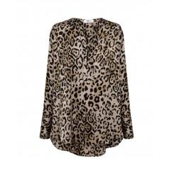 Mela Purdie Spear Shirt - Feline Print Satin