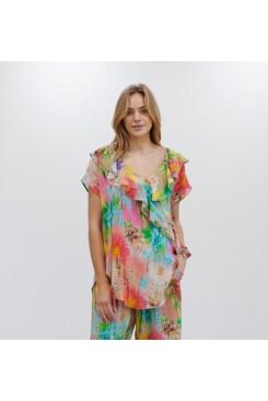 Mela Purdie Scroll Shell - Hot House Floral Silk