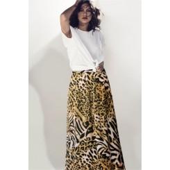 Mela Purdie Cabana Skirt - Sunset Animal Chiffon Satin Print - Sale