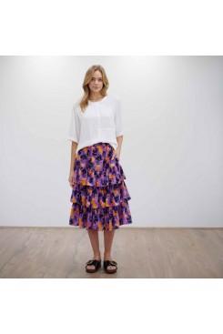Mela Purdie Candy Skirt - Pansy Print Silk