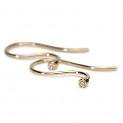 Earring Hooks, Gold/ Brilliant