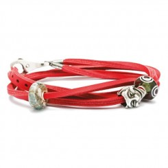 Leather Bracelet Red/ Silver